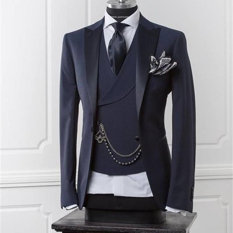 Marineblau Männer Blazer Business Modern Männer Anzug mit Hose Slim Fit Hochzeit Anzüge für Männer Prom Formale Jacke Smoking Kostüm Gewohnheit 3 Stück