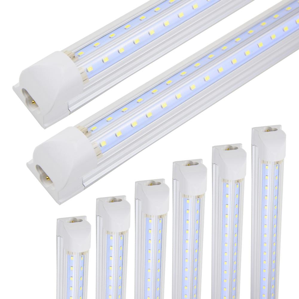 LED 가게 전등 8 피트, 통합 튜브 조명, 100W 10000LM 6000K, 평행 더블 행, 차가운 흰색, 튜브 빛, Hight 출력, 지우기 커버