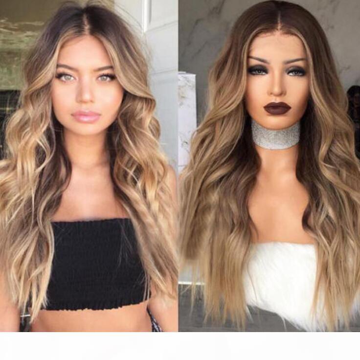 Farbige Mittelpunkt Perücke Mode Europäische und amerikanische Damen Lange Haare Braun Gradient Langes lockiges Haar Big Wave Chemische Faserhaar Perücke Set