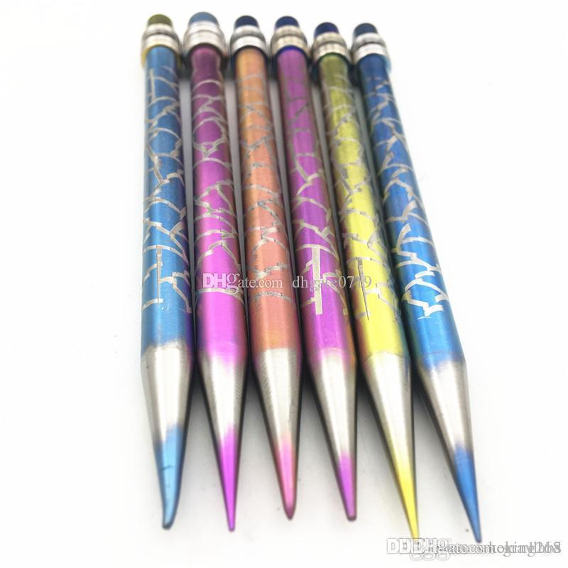 Neues Design Titan Dabber Bleistift Form Stil Pyrex Öl Wachs Dabber Werkzeug eloxiert Für Glas Wasser Bong Carb Raucher Nagel