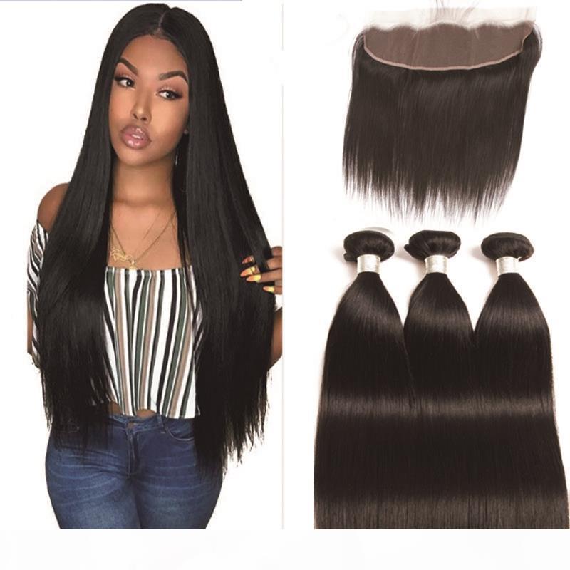 Paquetes de pelo rectos peruanos con encaje frontal 13 * 4 paquetes de cabello humano con cierre 3 piezas con frontal no remy