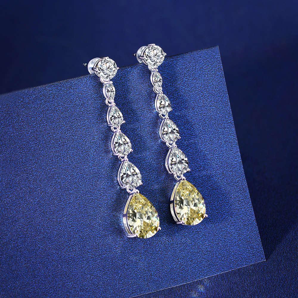Hbp moda luxo 2021 novos brincos de prata puro s925 com alto carbono amarelo diamante flash 9 * 13 gotas no verão
