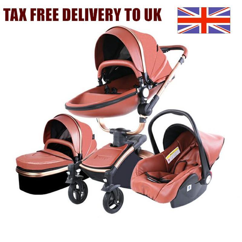 Роскошная детская коляска 3 в 1 Высокий пейзаж Путешествия Newborn Baby Charrage PU кожаная кожаная коляска Великобритания налогом бесплатная доставка