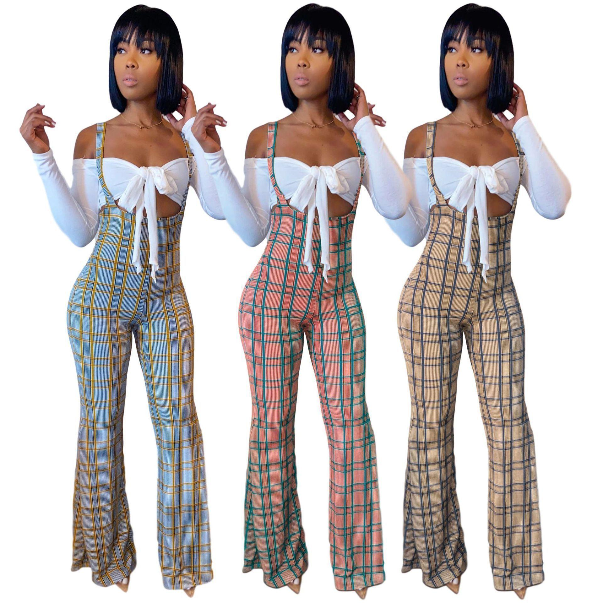 2020 Autnmn Women Designer Fashion Clothing Sexy Jumpsuit Long Sleeve Plaid Printed Jumpsuit The New Arrivals Listing
