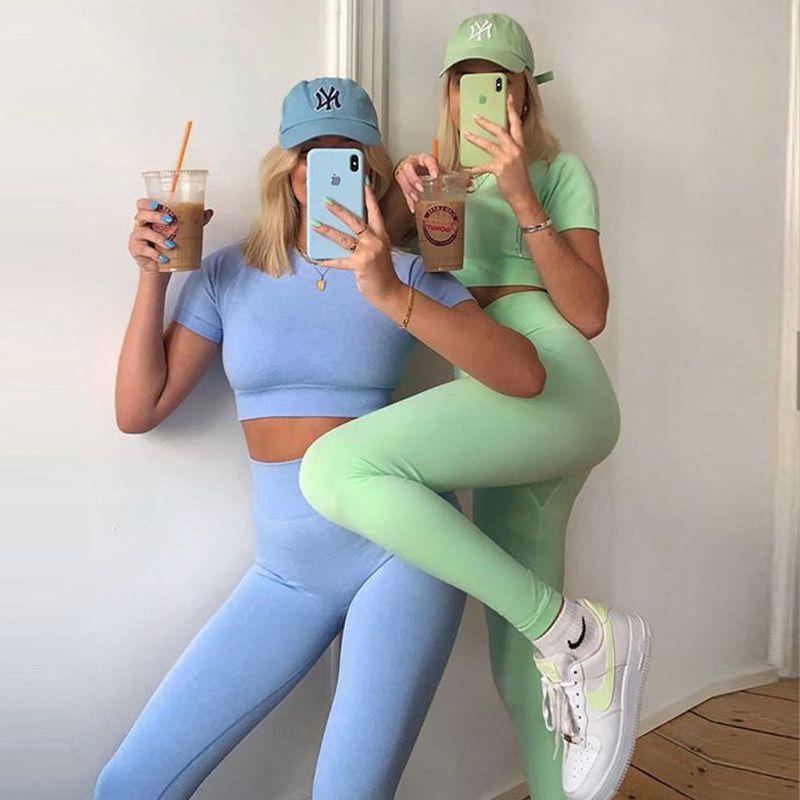 7 Renkler Kadınlar Dikişsiz Yoga Set Kısa Kollu Kırpma Üst Yüksek Bel Spor Tayt Aktif Kadınlar Için Giyim Gym Suit Egzersiz Giysileri