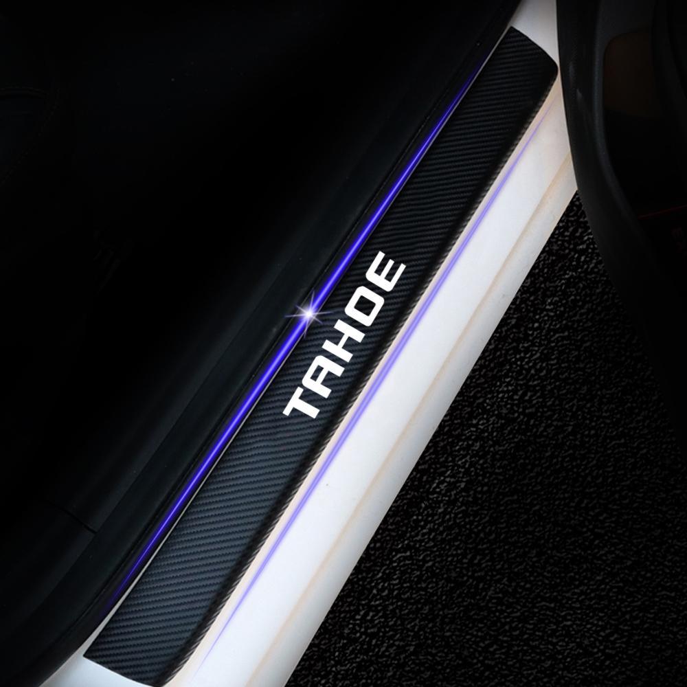자동차 액세서리 탄소 섬유 비닐 스티커 자동차 도어 Sill Protector 스커프 플레이트 Chevrolet Tahoe