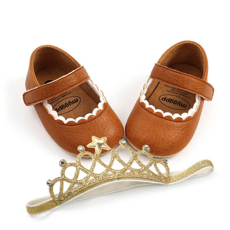 طفلة أحذية تاج رباطات 2 قطع مجموعات الوليد الأحذية طفل أحذية الأخفاف لينة أول المشي الأحذية الأميرة الطفل الأحذية B4090