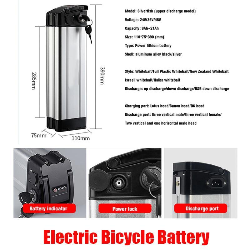 Электрические велосипедные аккумуляторы 24V 36V 48V 52V для 10ah 12ah 15ah 20ah 20Ah Duty Free High Power Lithium Free Аккумуляторные батареи
