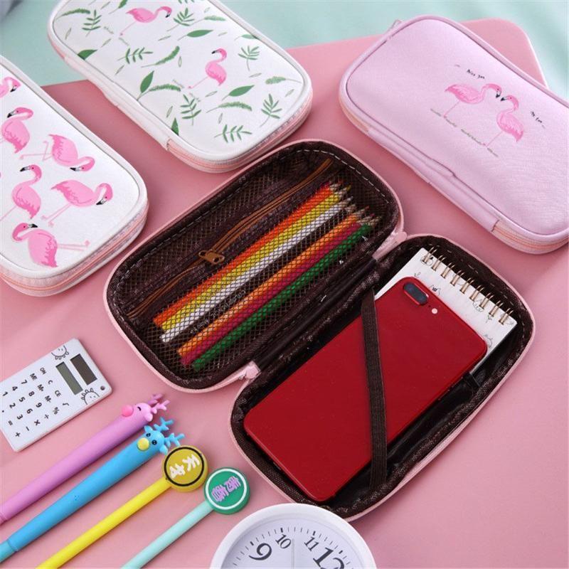 أكياس قلم رصاص kawaii فلامنغو حالة قماش سعة كبيرة متعددة الوظائف القلم مربع اللوازم المدرسية القرطاسية طالب فتاة هدية