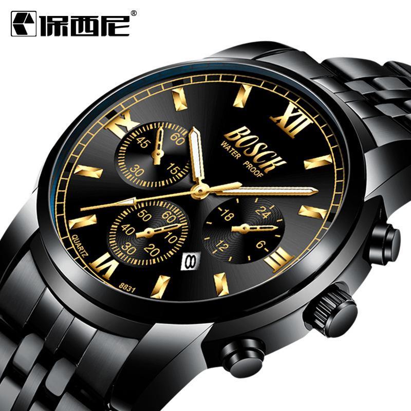 Bosini New Black King King Multif Function Tendance des hommes Coréen Quartz Watch non mécanique