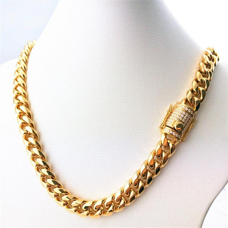 14mm 18-30inches Mens Cuban Miami Link Necklace Stainless Steel CZ Clasp Iced Out Gold Hip hop Chain Necklace