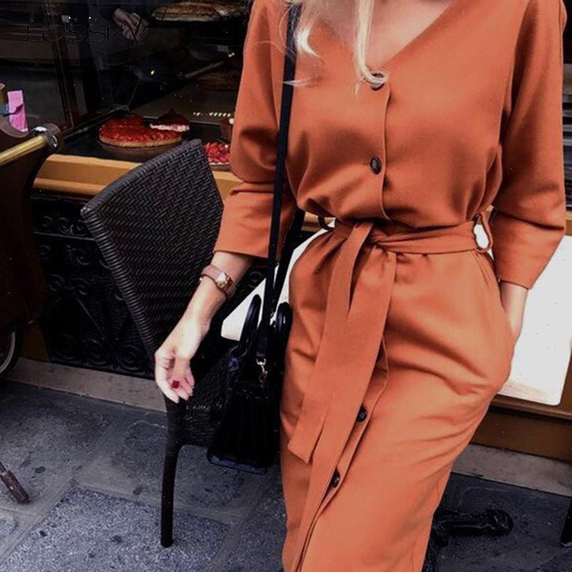 Langes Kleid Herbst Frühling Elegante Büro Damen Langarm Kleidung Casual Pure Black Sashes Button Up Frauenkleider 2021 Mode