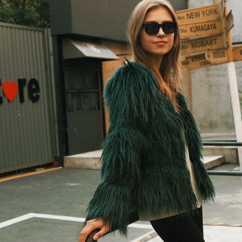 Tuhao Magro Streetwear Coat Büyük Sayfalar Sonbahar Kollu Kadın Açık Noktası Kürk Mont Yanlış LQ204 ID6H