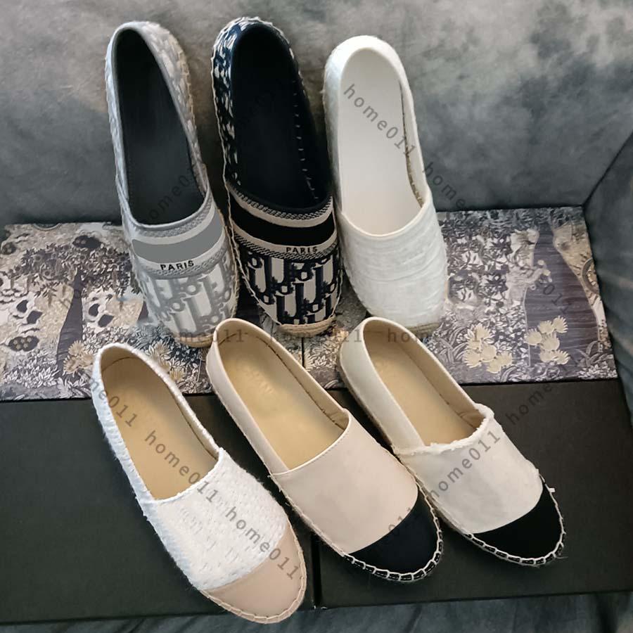 Classic Mocasines Alpargatas Lujos Diseñadores Zapatos Zapatillas de deporte lienzo y piel de cordero real Dos tonos Cap de punta de pie de moda zapato Home011 02
