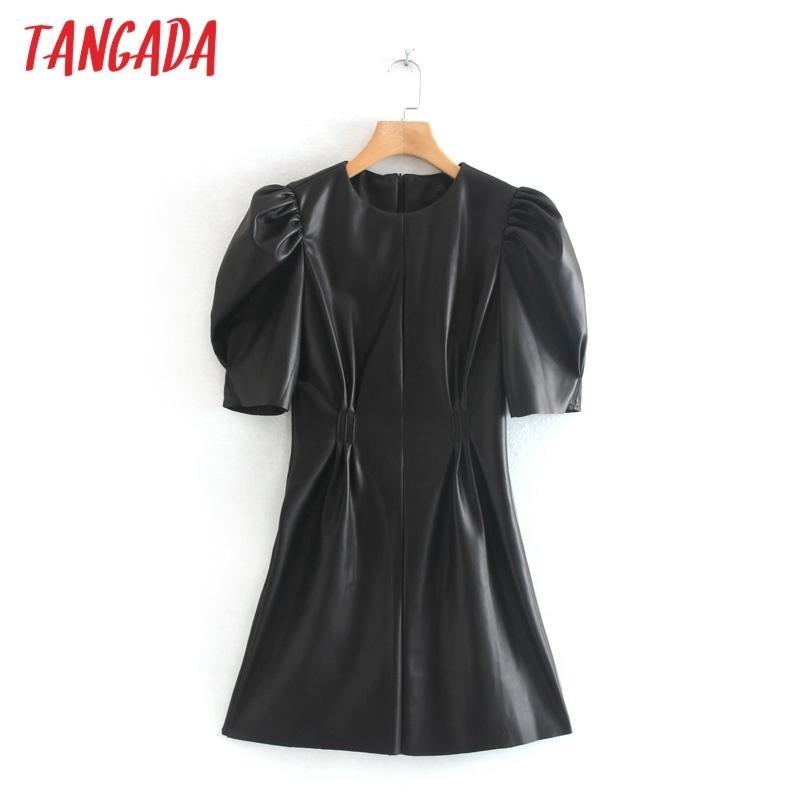 Tangada Kadınlar Siyah Faux Deri Elbise Vintage Kısa Kollu Fermuar Kadın Pileli Tunik Mini Elbise 2W92 210303