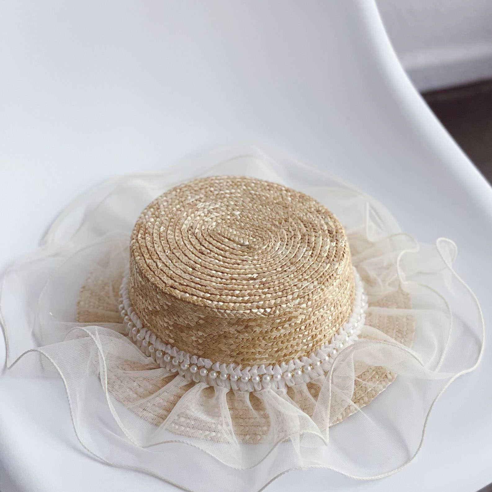 Summer Arrival Girls Fashion Pearl Hats Kids Lace Straw Hat 210712