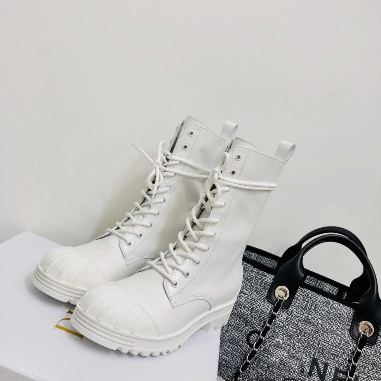 Autumn and winter 2020 new style lady's thick-soled knight boots Martin boots baby shell headband motorcycle boots
