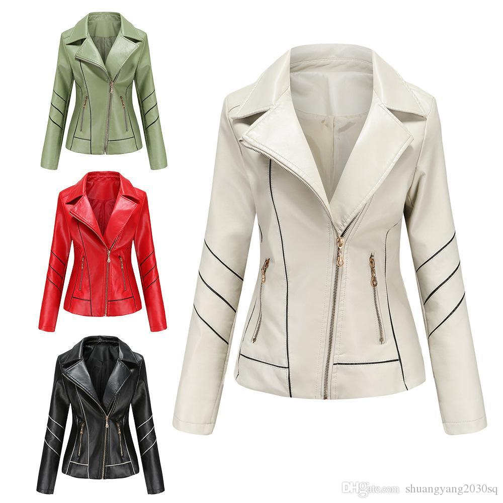 Giacca di cuoio della soiltura della soiltura delle donne sottile del cappotto corto della molla e delle giacche autunnali Vestiti della locomotiva Donne