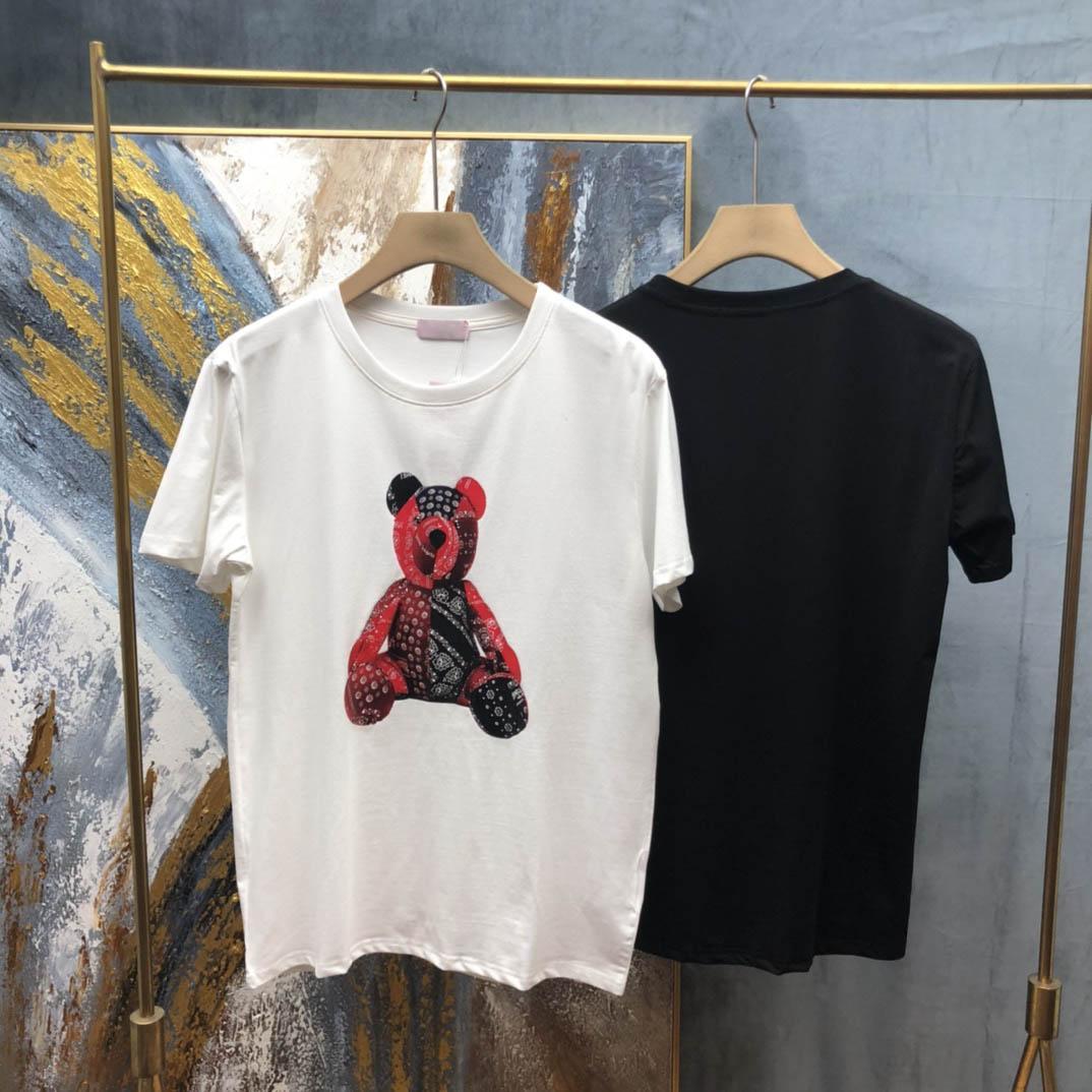2021 Yeni Erkek Tasarımcı T Gömlek Hıristiyan Moda Erkekler Rahat T Shirt Adam Paris Fransa Sokak Şort Kollu Giyim Tişörtleri Karikatür Ayı