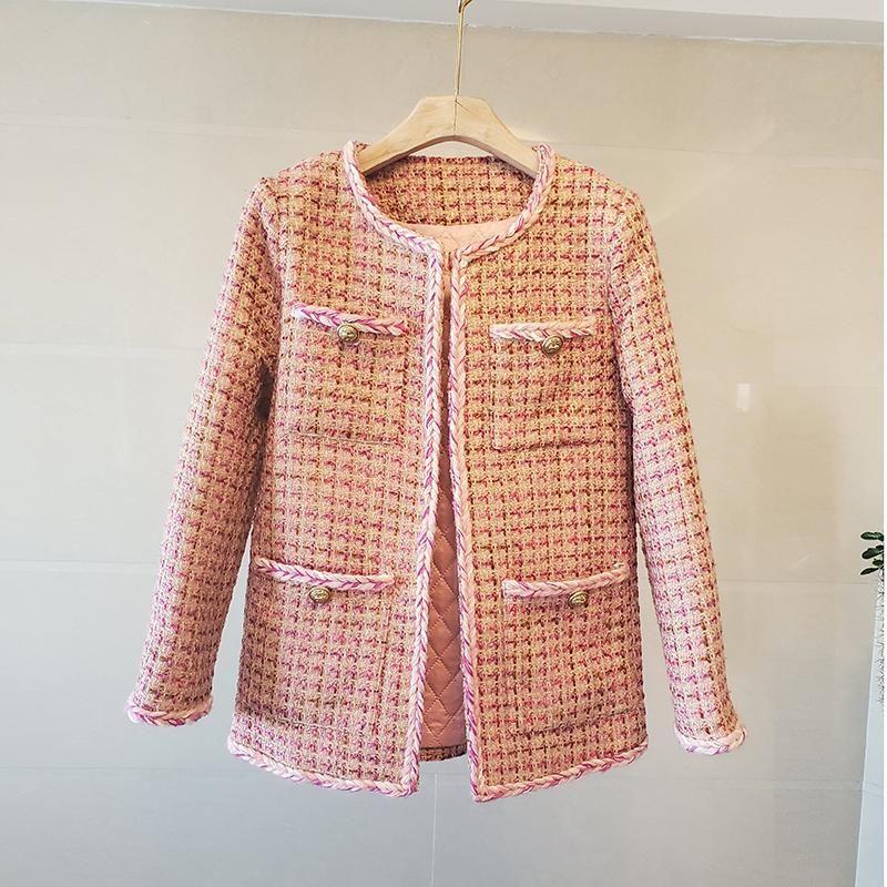 Women's Jackets Winter Pink Tweed Plaid Jacket Women Design Buttons O-Neck Long Sleeve Elegant Vintage Coat Female Bomber Harajuku Autumn
