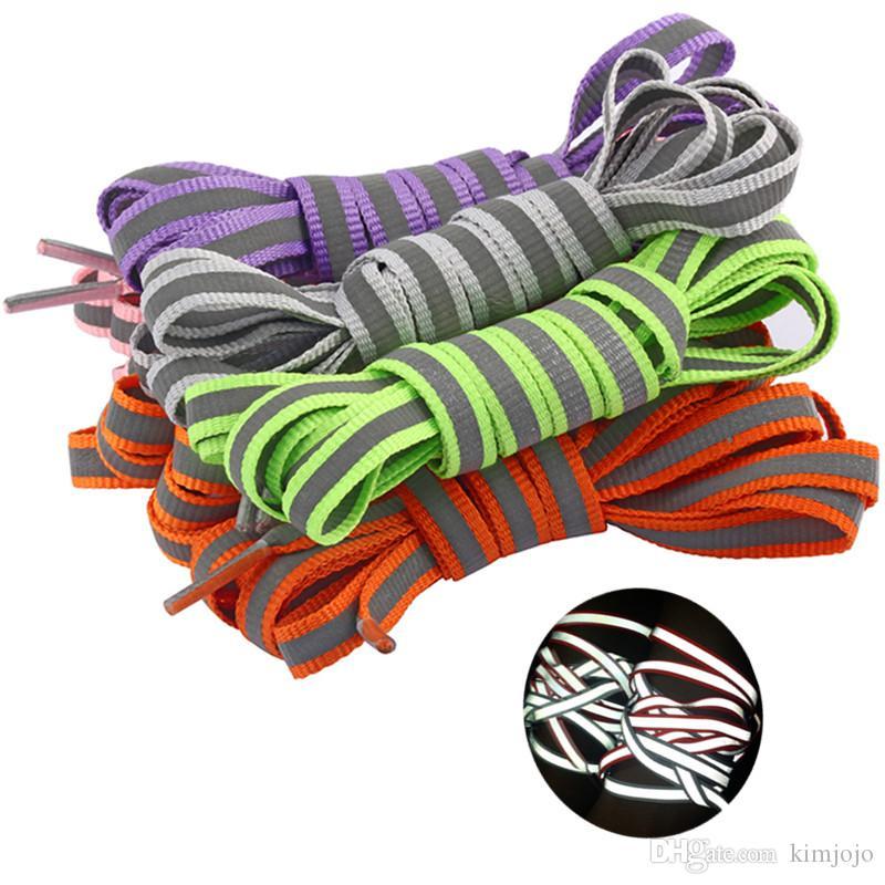 6 ألوان 100 سم الفلورسنت رباط الحذاء بوليستر أزياء حذاء رياضة حذاء 3 متر عاكس الأحذية المسطحة الأربطة