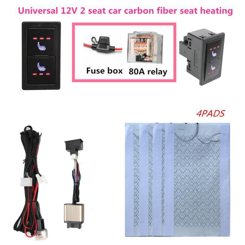 Autositzbezüge 2 Sitze 4 Pads Universal Kohlefaser beheizter Heizung 12V 3 Level Schalter Winterwärmer