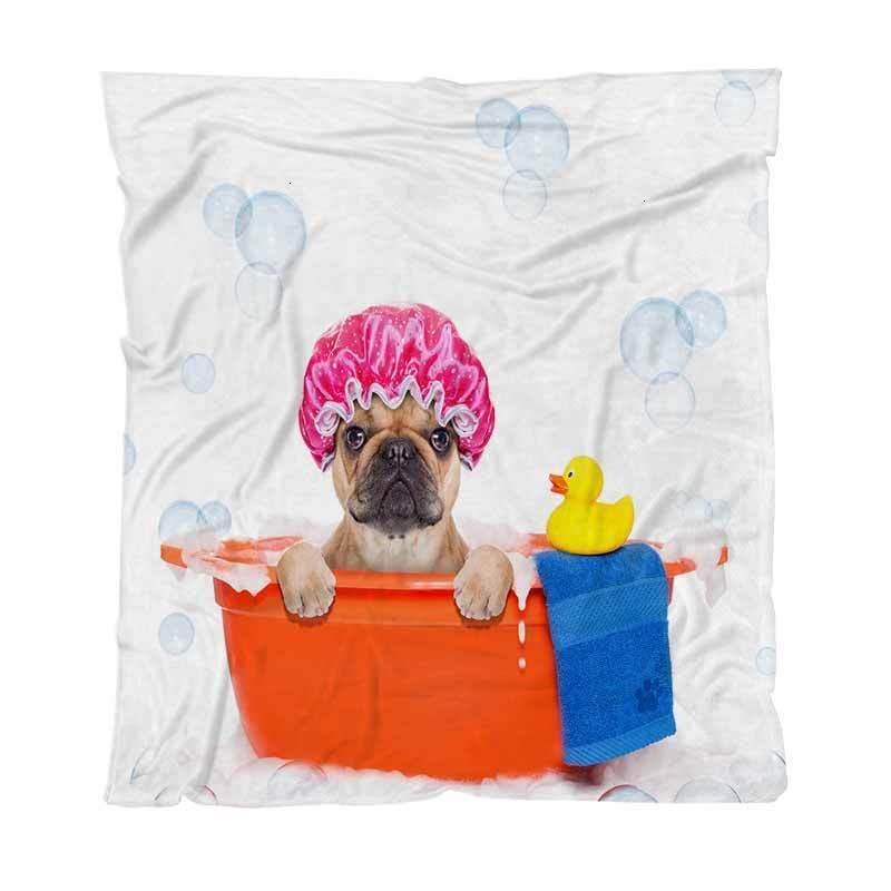Um quarto de casa de luxo de luxo do cão de buldogue francês na banheira não tão leve cobertor quente para sofá sofá de sofá-cama 1m7hw