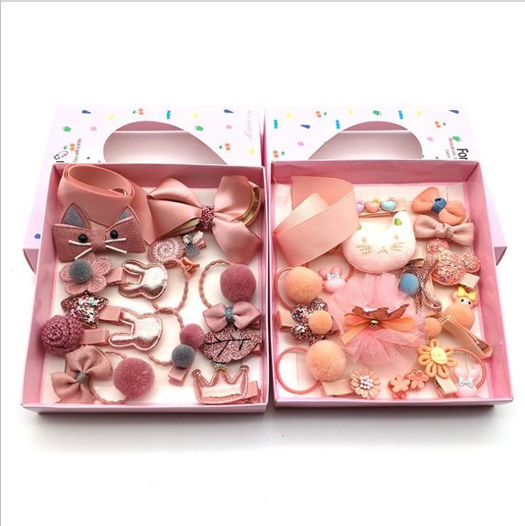 Caja de regalo de la caja de regalo de 18 piezas de New Children no hace daño el arco de la princesa para el cabello