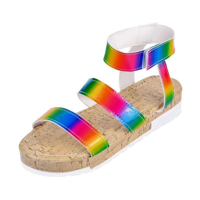 Dropship Большой Размер 43 Женский Летний Многоцветный Платформа Сандалии Радуга INS ins Женщина Мода Обувь Женщина Гладиатор Открытый Новый Сандал