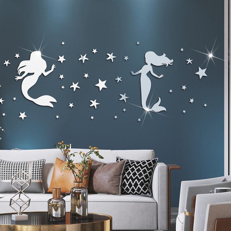 44 pz / set FAI DA TE Pareti Decor Sirena Mirror Specchio Adesivo da parete 3D Sfondo TV Adesivi Decalcomania Art Mural Bedroom Beach Room Decoration