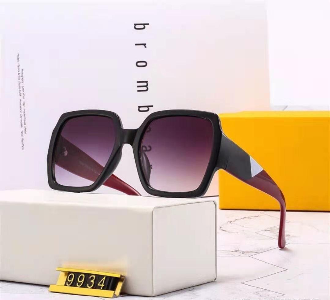 2021 Новая распродажа Высокое качество Классическая буква Классические буквы Большое Рамка Солнцезащитные очки Очки Металлические Стекло Линзы 6 Цвет Бесплатные покупки