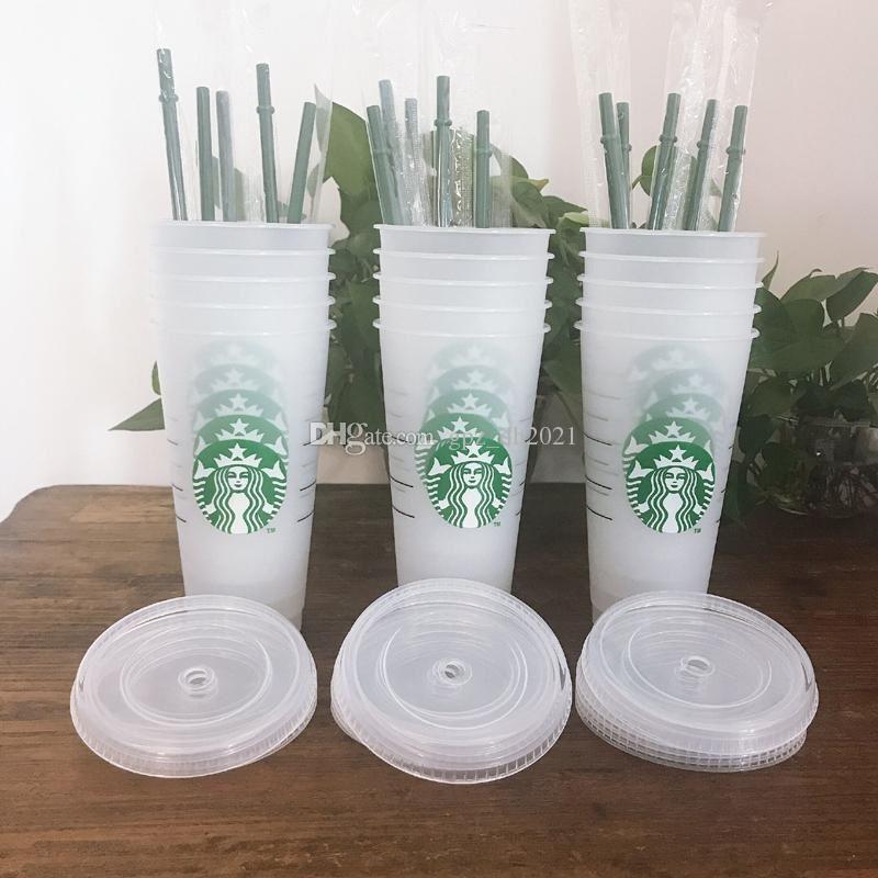 Starbucks 24oz / 710 ملليلتر بلاستيك بهلوان قابلة لإعادة الاستخدام واضح شرب شقة أسفل كوب عمود شكل غطاء القش القدح بارديا 10 قطع dhl
