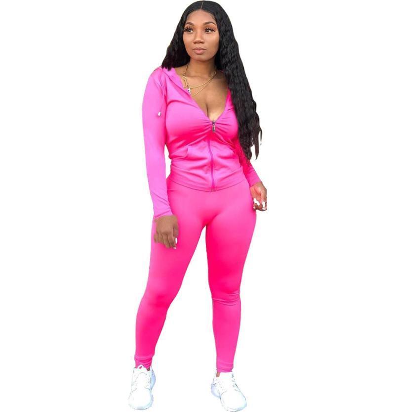 النساء رياضية 2021 ربيع المرأة قطعتين مجموعة سستة مقنع سترة + السراويل الطويلة ملابس رياضية الملابس