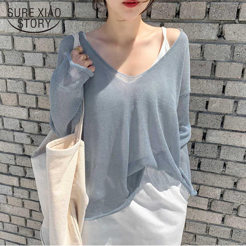 Spring and Summer Korean Loose Sexy V-neck Pullover Tops Solid Color Super Thin Sunscreen Perspective Sweater 9829 210528