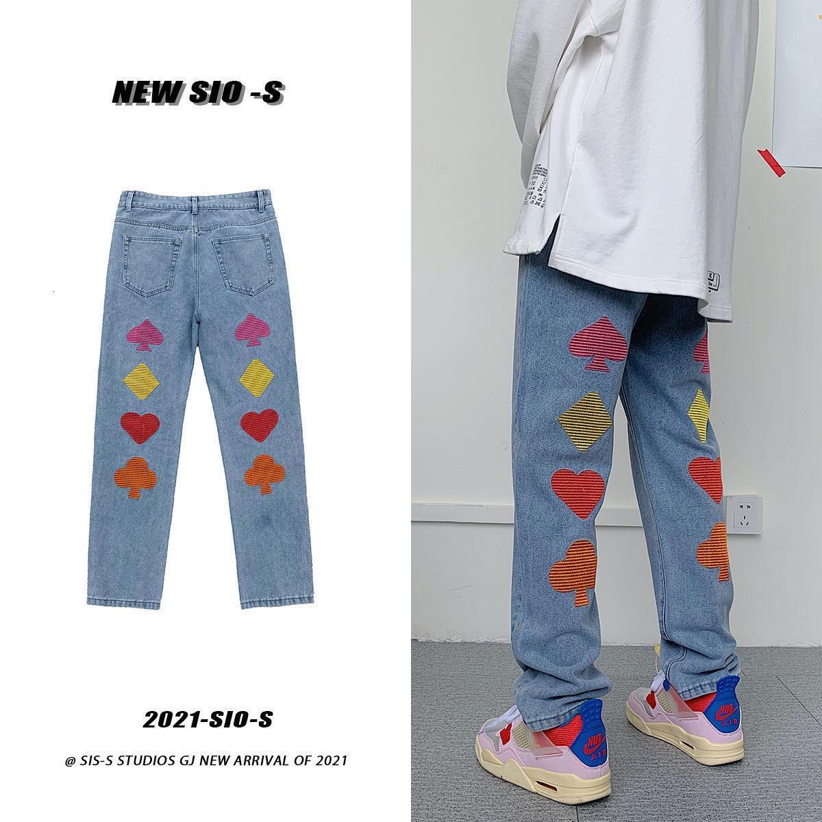 PR Hombre Gráfico Impreso Bordado Jeans Mujer Streetwear Coreano Pantalones de mezclilla rectos Masculino Casual de gran tamaño