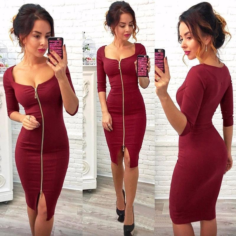 Bahar ve sonbahar kadın taban elbise düz renk kare yaka ön fermuar slim fit seksi kalça elbise gece kulübü parti elbiseler 210303