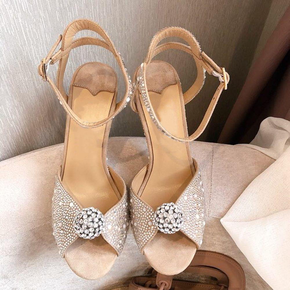 Плюс Размер 34 ~ 41 Женская обувь Peep Toe Высокие каблуки Женские Сандалии Натуральная Кожа Женская Обувь Неглубокий рот Летние Сандалии 210301