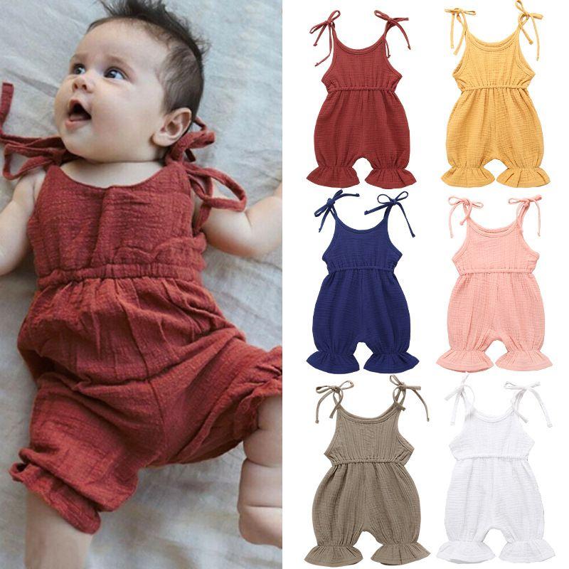 Newborn Baby Color Sólido Romper Sling Sling Pumpsuits 2019 Verano Ruffles One Piece Kids Climbing Ropa 6 Colores C6317 537 Y2