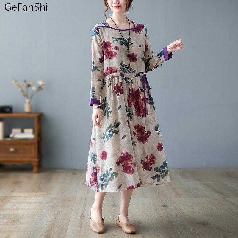Casual Dresses Plus Size Cotton Linen Dress Women Autumn 2021 Vintage Floral Print Female Mid-Calf Length A-line