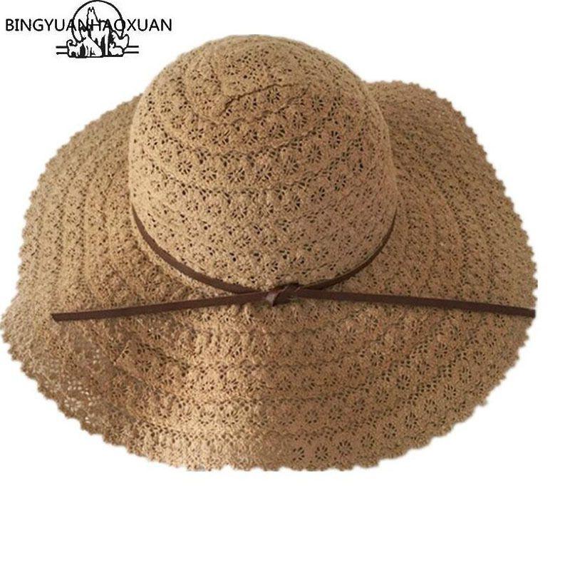 Bingyuanhaoxuan Cappelli da sole estate per le donne in pizzo cotone morbido grande moda design donna spiaggia cappello da sole pieghevole paglia paglia giacca Y0223