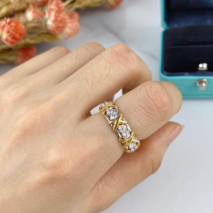 Luxury Classic Designer Schlumberger S925 Sterling Silver Cross Crystal Wide Ring For Women Jewelry Accessories Free Shipping