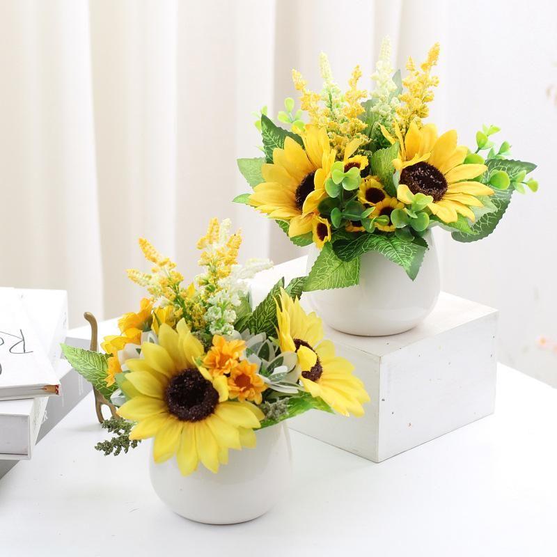 Decorative Flowers & Wreaths Artificial Plant Nordic Style Flower Bonsai Set Fresh Sunflower Artware Decorations With Flowerpot