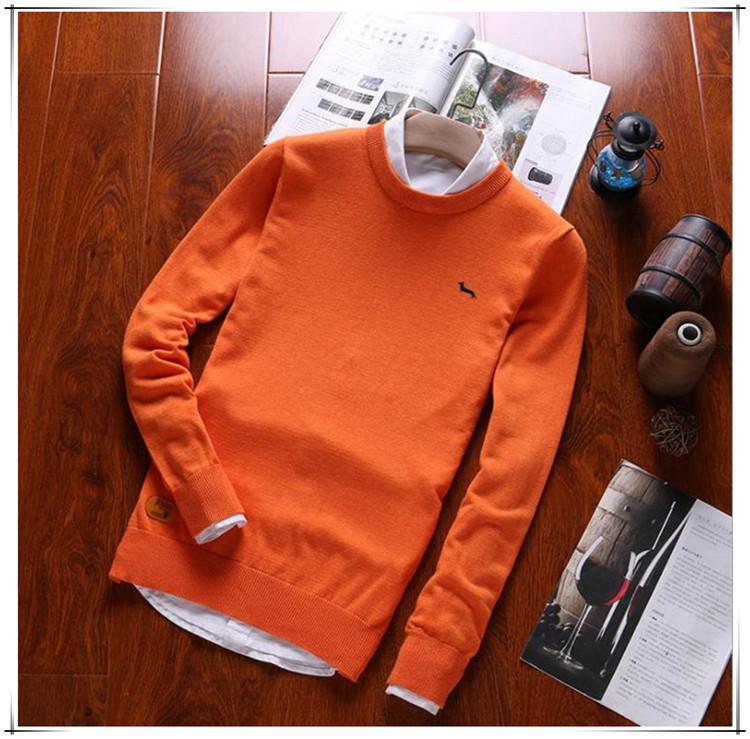 100% algodón 2019 casual nuevo suéter de primavera marca hombres sueltos O-cuello bordado jerseys armont sólido manga larga Blaine S0TTTT
