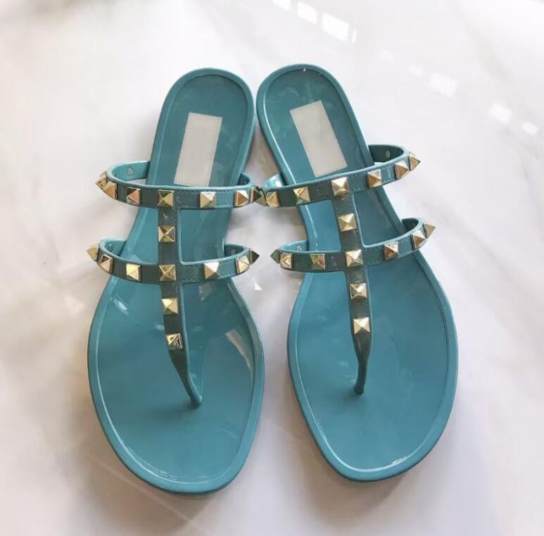 Lüks Tasarımcılar Bayanlar Sandalet Perçin Yay Düğüm Düz Terlik Sandal Çivili Kız Ayakkabı Slaytlar Bayan Flip Flop Kutusu ile 35-40