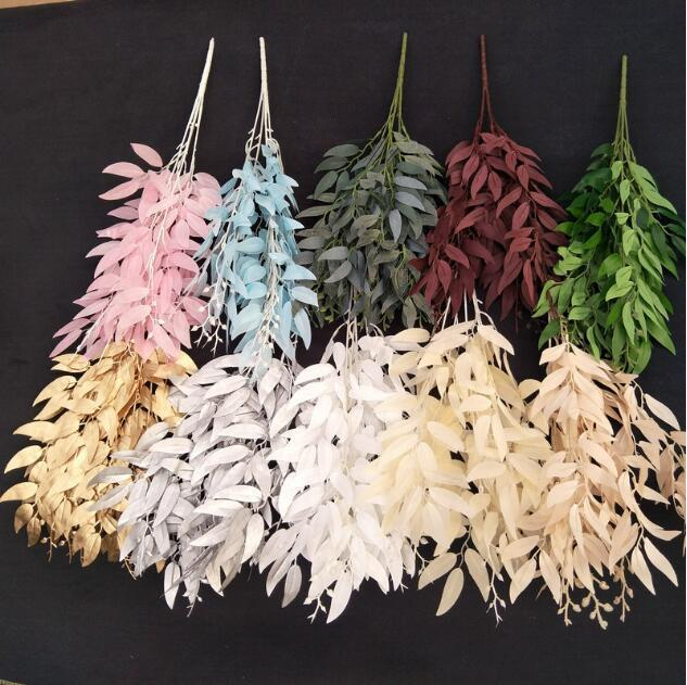 Decorative Flowers & Wreaths 5 forks Artificial willow leaves vine wedding decorations Home decoration fake willowes Branch plants