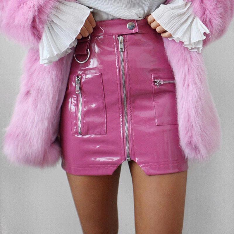 Женщины Искусственная кожа Высокие талии Карандашные Юбки Розовая Кнопка Передняя молния Мода Сексуальная вечеринка Мини Юбки Элегантные Уличные Юбки 210305