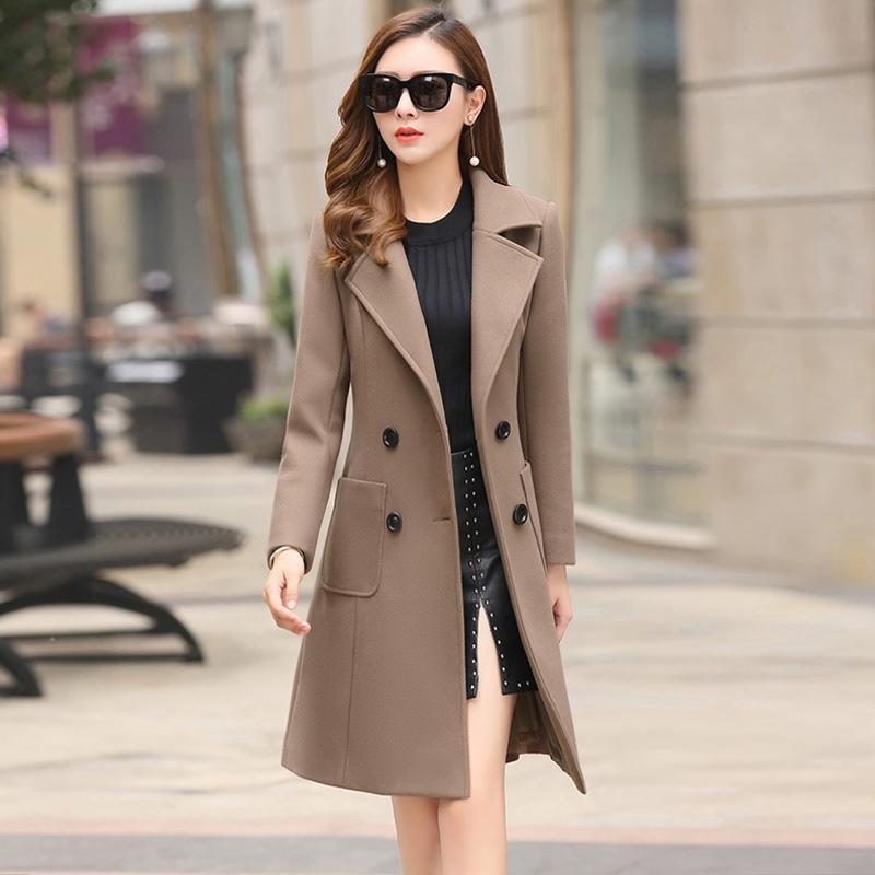 Wollmischungen der Frauen Mode Wollfrauenjacke Mantel Lange Slim Mischung Oberbekleidung 2021 Herbst Winter Tragen Mantel Weibliche Damen Mäntel