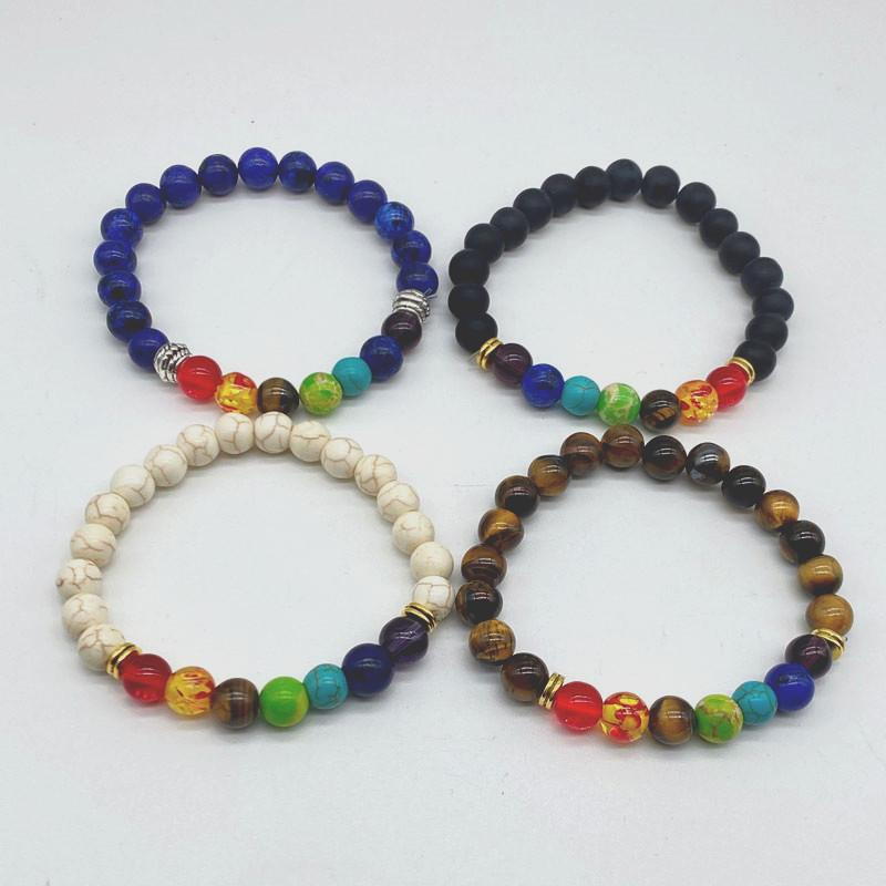 Styles mixtes 7 Bracelets de Chakra Strands pour hommes Femmes Balance de guérison Perles Naturel Pierre Yoga Charm Bijoux
