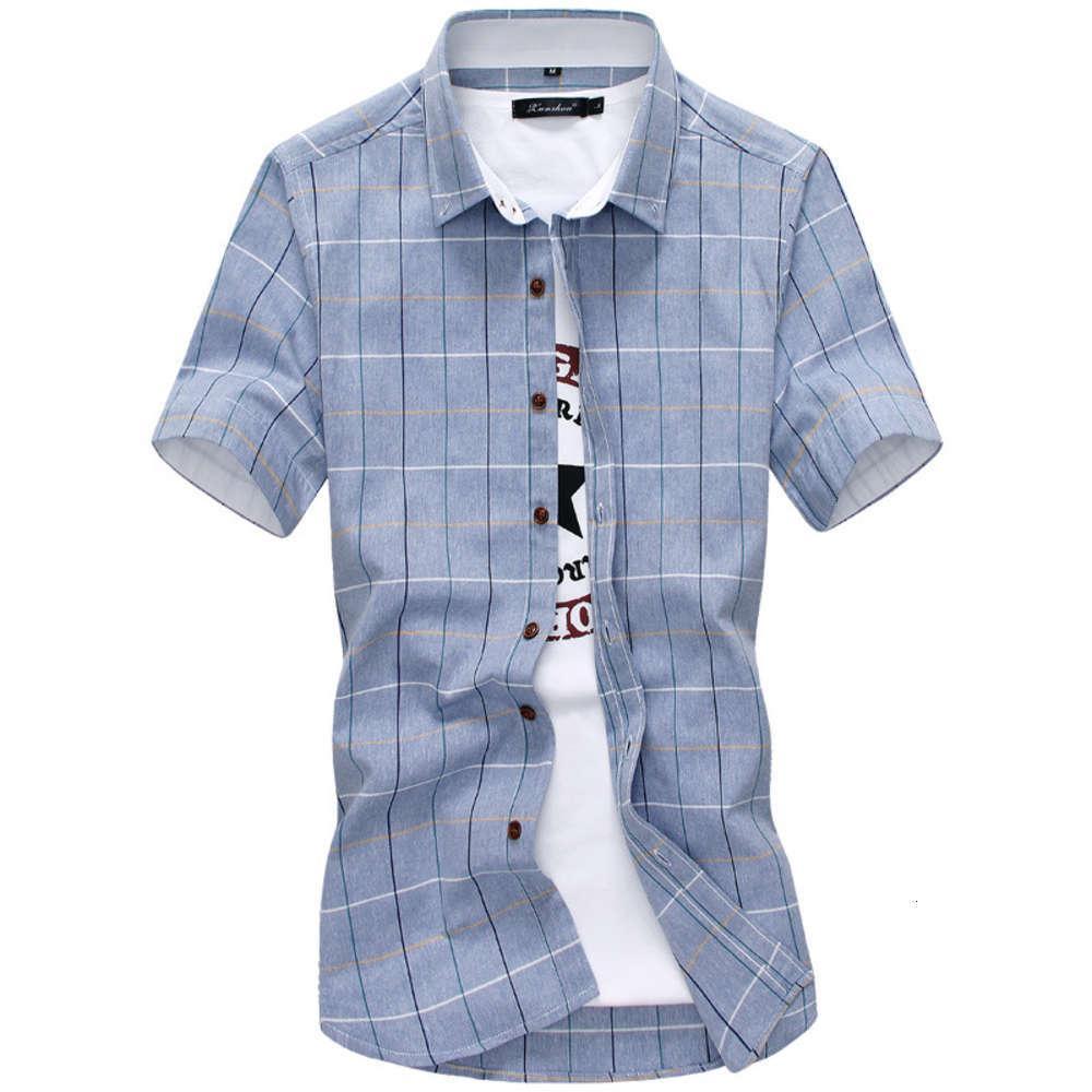 2021 летние новые мужские моды Trend Trend досуга молодежь многоцветная рубашка плед с коротким рукавом