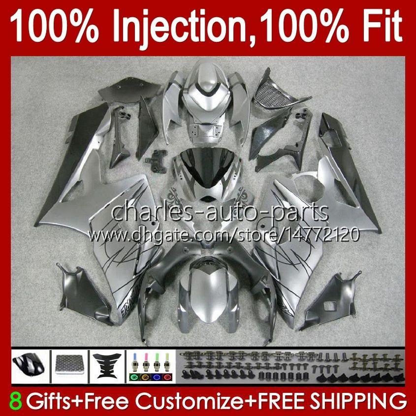 Body Injection Mold For SUZUKI GSXR 1000CC 1000 CC K5 GSXR1000 05 06 Bodywork 11HC.23 GSXR-1000 2005 2006 Cowling GSX-R1000 GSX R1000 05-06 OEM Fairing silvery grey